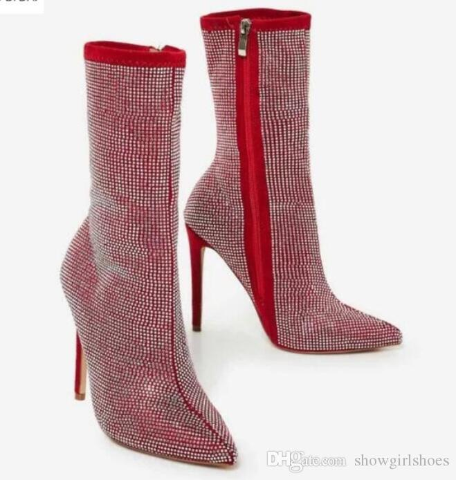 2018 New Women Diamond Boots Zip Up Women Ankle Booties Thin Heel Full  Crystal Boots Ladies Point Toe Rhinestone Stud Red Boots Rain Boots Mens  Shoes From ... 4cc7d8432d8f