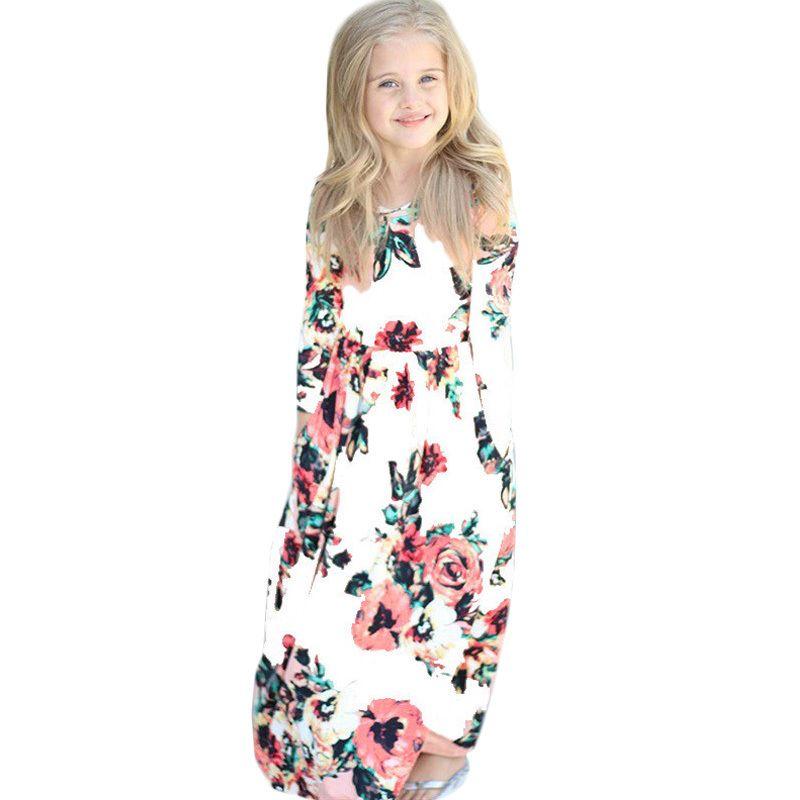 051700e6f7 Vestito lungo delle ragazze 2019 Stampa floreale estiva Vestito da spiaggia  per bambini Abbigliamento da mare Maxi vestito Vestiti da festa per ...