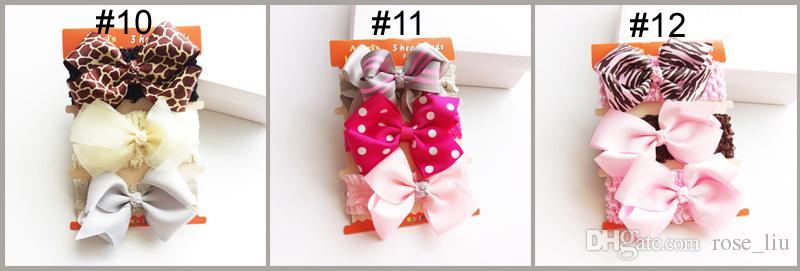 12 Style Bébé fille INS dentelle bandeau cheveux accessoires Nœuds Arcs Lapin bande Cadeau D'anniversaire Fleurs Imprimé Géométrique / set B