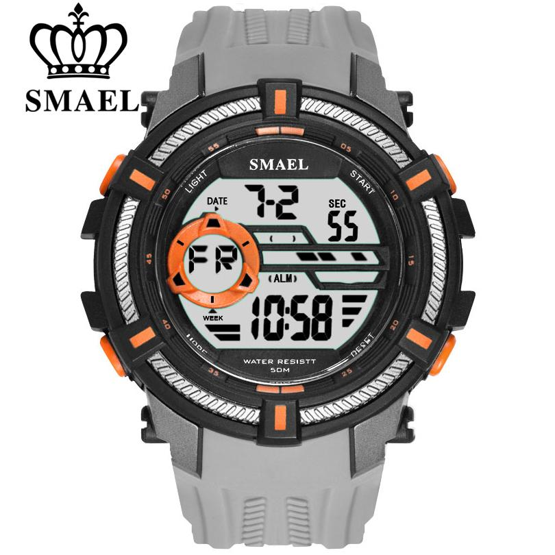 SMAEL Men Sport Digital Wristwatch Day Date Waterproof Army Wrist Watch For Male Clock Fashion Casual Electronic LED Watches