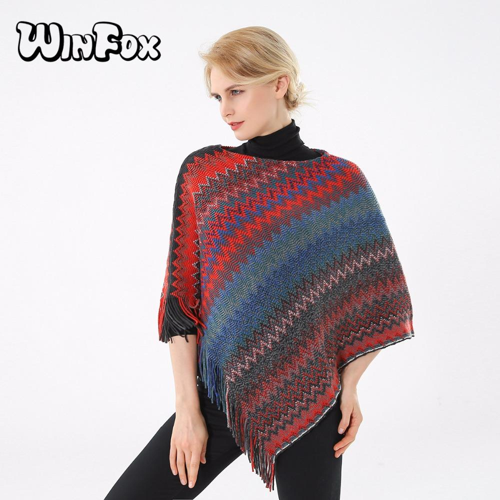 Winfox 2017 New Brand Winter Women Fashion Multicolor Red Blue Knitted Cardigans Wave Chevron Poncho And Cape For Womens