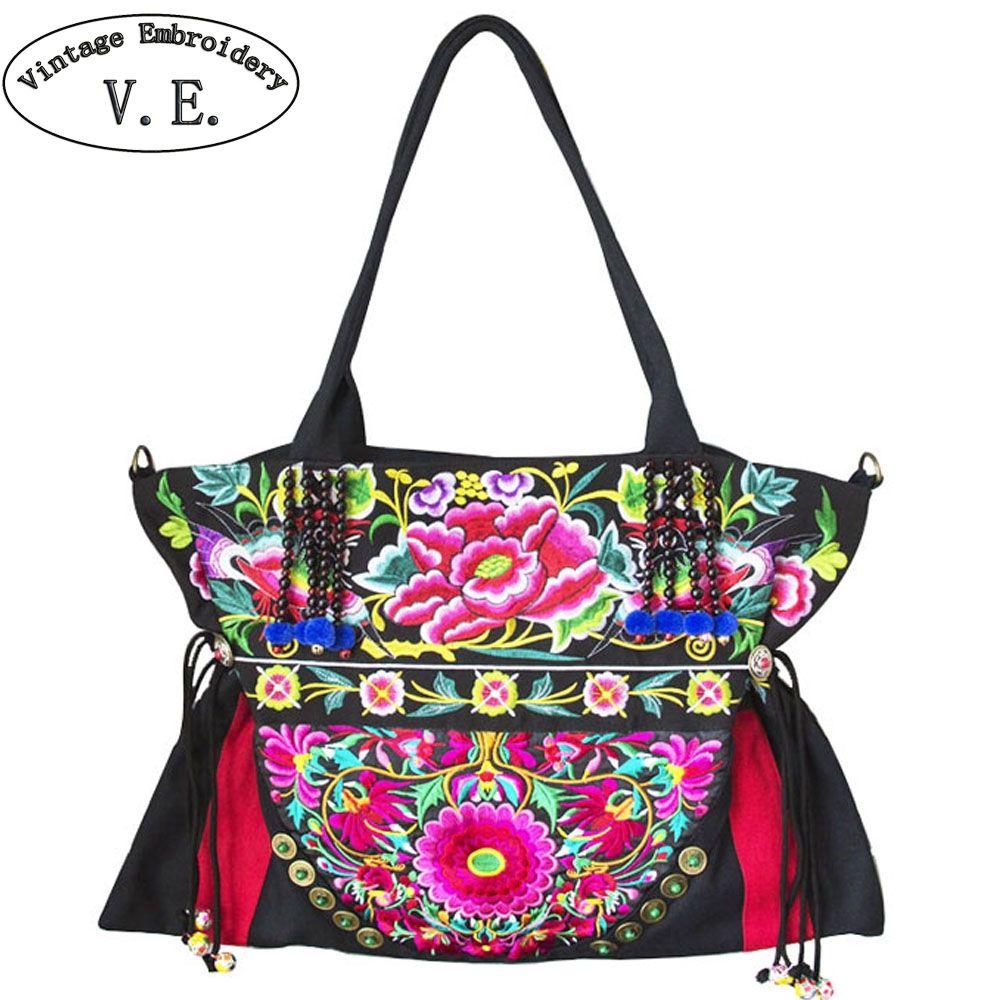bab3f44aa0224 Großhandel Vintage Stickerei Frauen Umhängetaschen Böhmen Thailand Indien  Bestickte Handtaschen Stofftasche Große Kapazität Reise Umhängetasche Von  Redline