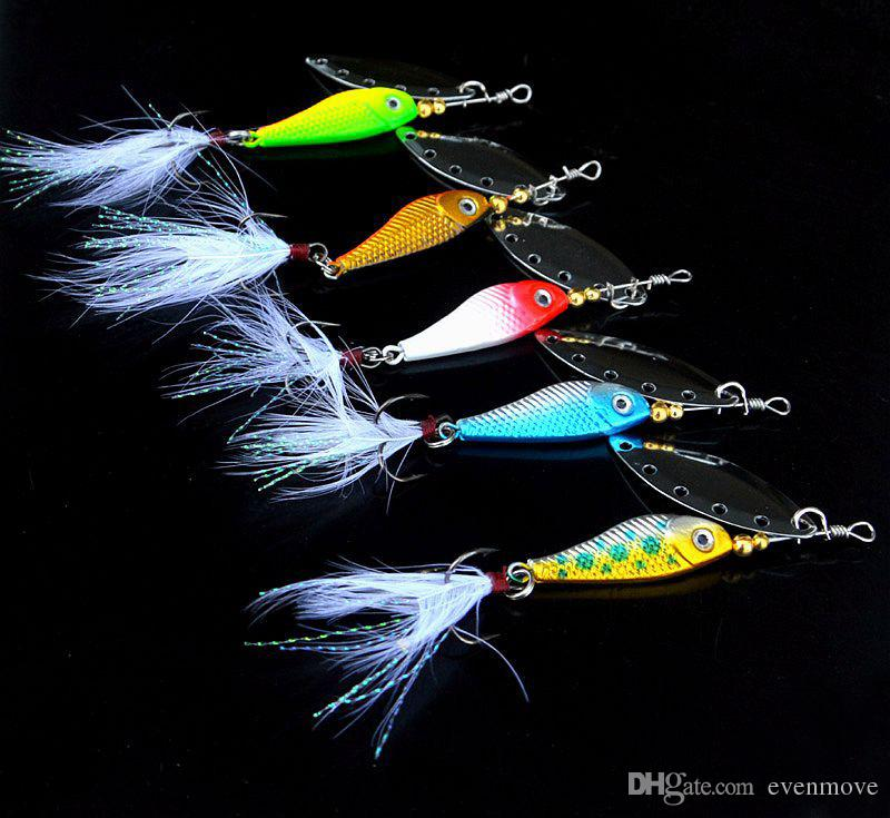 Jig Fish Head Cuchara señuelo con pluma gancho giratorio Spinner cebo 16.5 g Señuelos artificiales