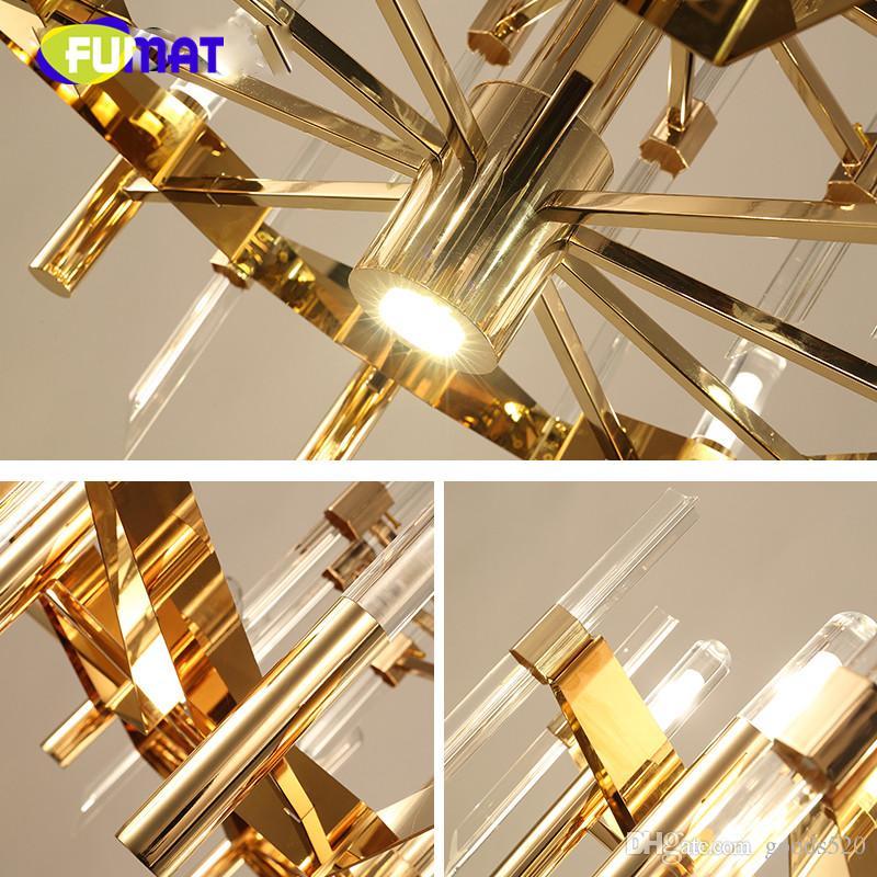 Nordic crystal chandelier American glass crystal long strip of LED lights for the modern living room restaurant