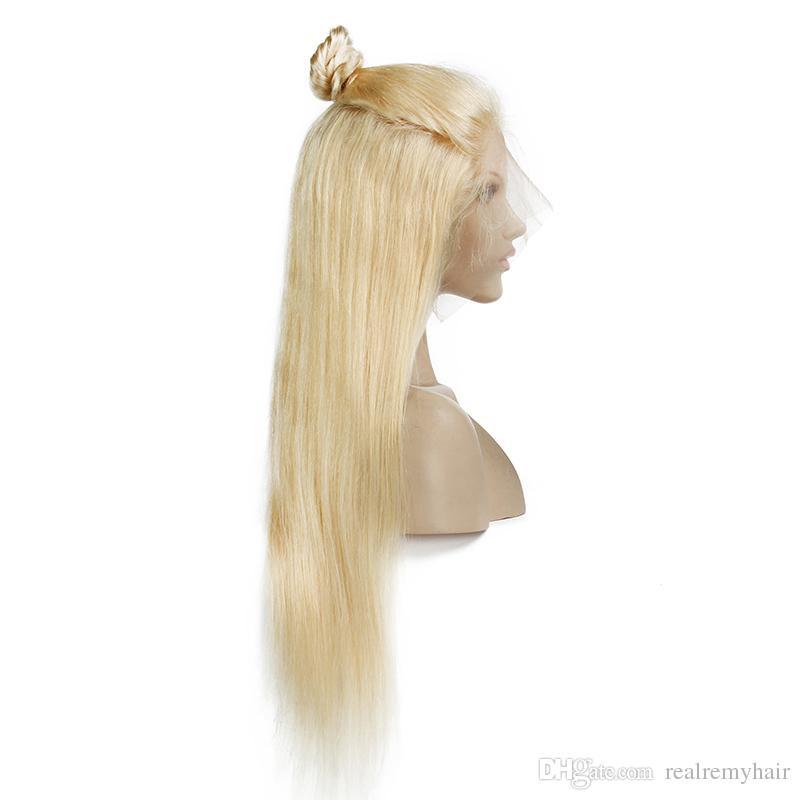 150 Yoğunluk Brezilyalı Bal Sarışın İnsan Saç Dantel Ön Peruk Renk 613 # Düz Kalın Tutkalsız Tam Dantel İnsan Saç Peruk Bebek Saçlı