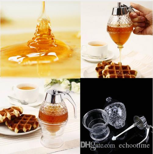 4c7ac006b3d9 New Arrive 200ML Honey Dispenser Jar Container Cup Juice Syrup Kettle  Kitchen Bee Drip Stand Holder Portable Acrylic Storage Pot