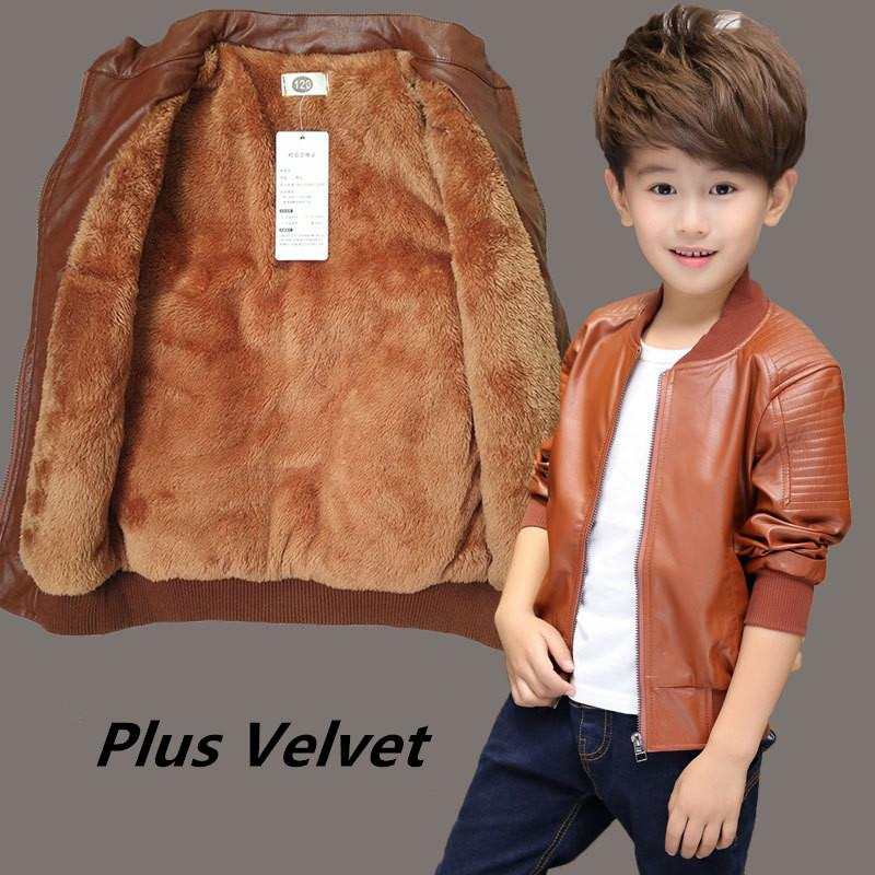 bee0fedba Boys Coats Autumn Winter Fashion Korean Children s Plus Velvet Warming  Cotton PU Leather Jacket For 6-15Y Kids Hot