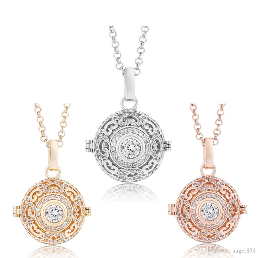 Wholesale 2018 new cz interchangeable necklaces diffuser cage zircon wholesale 2018 new cz interchangeable necklaces diffuser cage zircon jewelry angel bola essential oil pendants for mom gifts pendants gold necklace for aloadofball Images