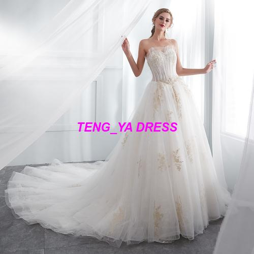 2018 Strapless Tulle Train Lace Beaded Customized Made Wedding Dress E001