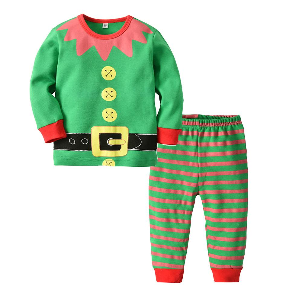 399d30b27d60 New Christmas Children Boys Girls Cotton Pajamas Set Long Sleeve ...