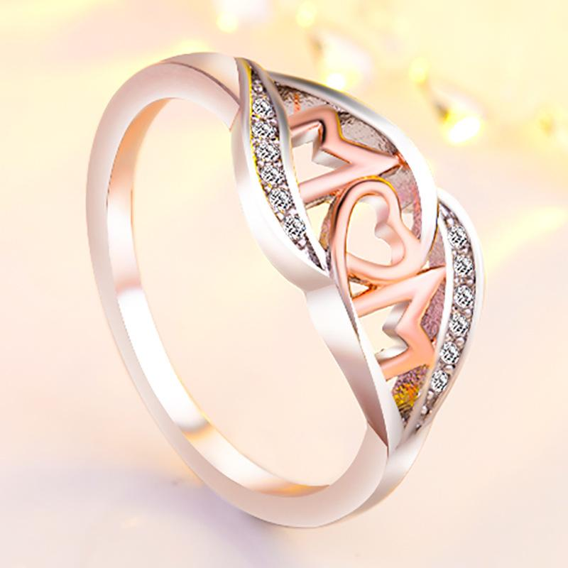 18k rose gold love mom Mum heart ring crystal diamond jewelry Tow Tone Color Shiny Rhinestone Jewelry Mother's Day Birthday Gift