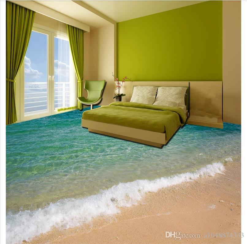 All'ingrosso-Personalizzato Foto Pavimento Carta da parati 3D mare oceano spiaggia pavimento Bagno soggiorno 3D Pavimento autoadesivo Adesivo pavimenti Pittura