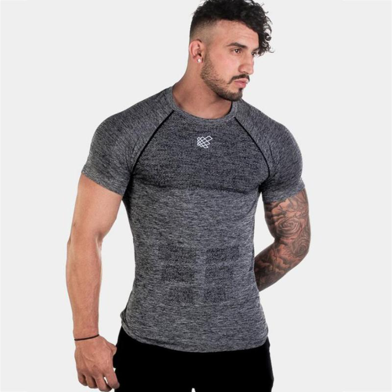 40958d343 Short Sleeve Shirt Men Running Gym Fitness t shirt Slim fit Fitness  Bodybuilding Workout Male Tee Tops Clothing Sports Top
