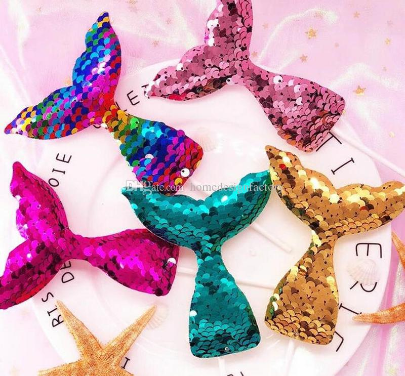 Sequins Mermaid Tail Cupcake Topper Wholesale Cakes Flag Wedding Party Bridal Shower Birthday Cake Decoration