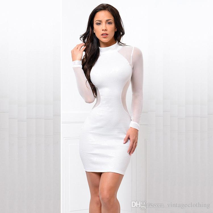 Yeni Geliş Gece Kulübü Kadınlar BODYCON Elbise Seksi Lady Tasarım Diz Boyu Mürettebat Boyun Kılıf Dress1