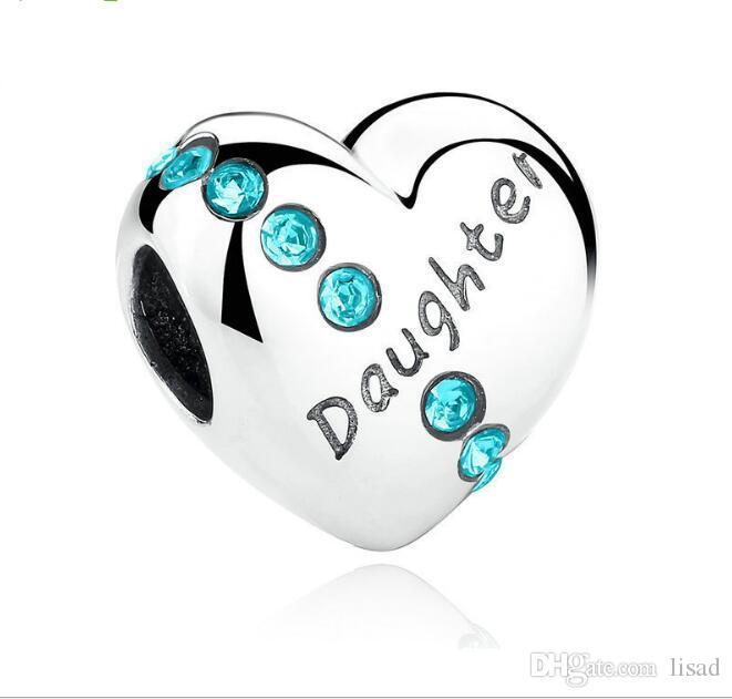 925 Sterling Silver Coração Diamante Mãe / Filha / Irmã Impresso Contas Soltas Encantos para DIY Pulseiras Pingentes de Jóias Acessório Como Presentes