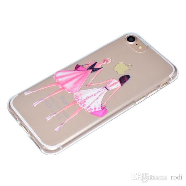 iphone5s 6plus 7 p / 8 cassa del telefono Copertura posteriore Shell TPU morbido rilievo rilievo in rilievo di colore solido trasparente antiurto Design personalizzato