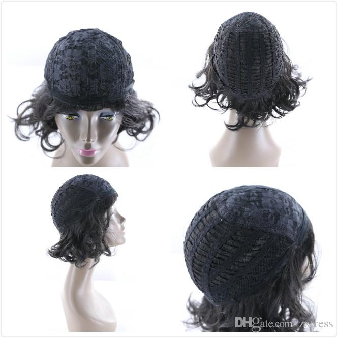 """Short Curly Wigs Oblique Bangs 10"""" Natural Black Side Part Heat Resistant High Temperature Fiber Bounce Curl Synthetic Wigs For Black Women"""