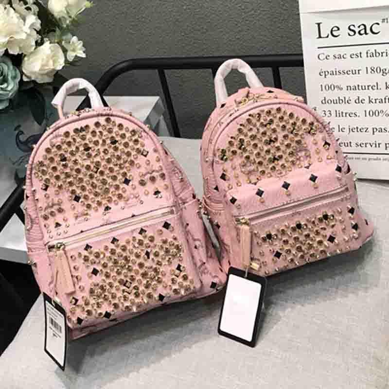 c40e39045070 Women Luxury Designer Backpacks Men School Backpack Leather Sac A Dos Rivet  Backpack Fashion Brand Bag High Quality Laptop Bag 2018 School Bags  Messenger ...