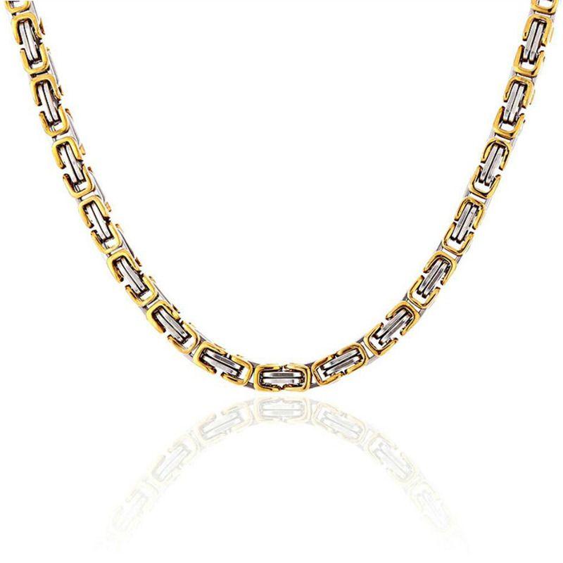 1439ca12c7c5 Compre Amgj 4mm 7mm Collar Para Hombre Cadenas Plata Oro Bizantino Caja  Enlace Cadena De Acero Inoxidable Para Hombres 22 Pulgadas A  21.41 Del  Fengyune ...