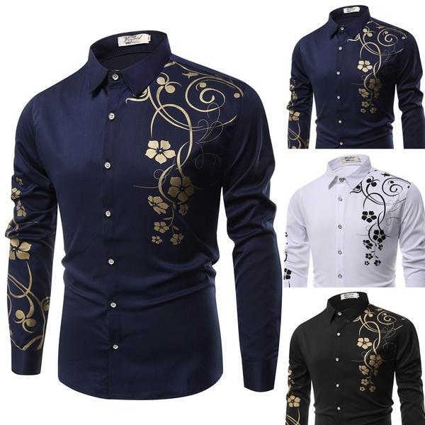 Neues Herrenhemd, Hemd mit Bund, modisches Muster camisa skjorta Pull  d homme 40103b6406