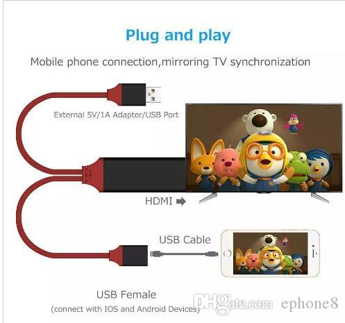 Universal HDMI Adapter Cable To HDTV 3 in 1 USB cable Connector For Samsung Galaxy S8 Edge Note 5 Iphone 8 X LG G4 Ipad Air2