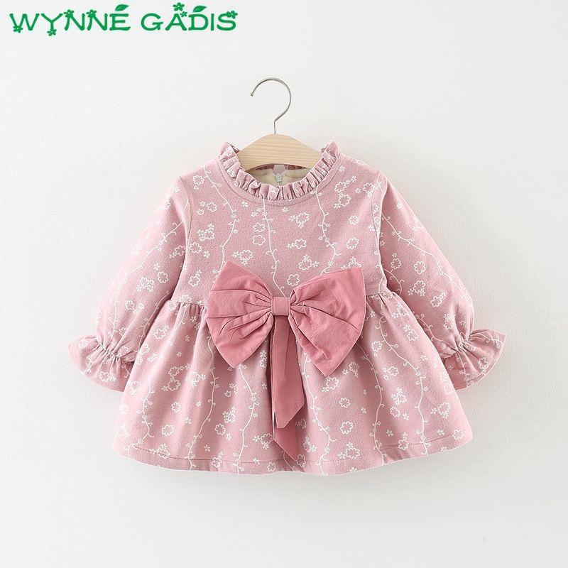 954405465 2019 Winter Infant Girls Long Sleeve Floral Thick Velvet Princess ...