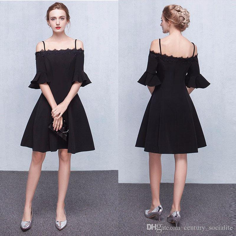 aa38495379f3 2019 A Line Black Cocktail Dresses Lace Off Shoulder Half Sleeves Knee  Length Straps Zipper Short Prom Dresses Silver Cocktail Dresses Spring  Cocktail ...