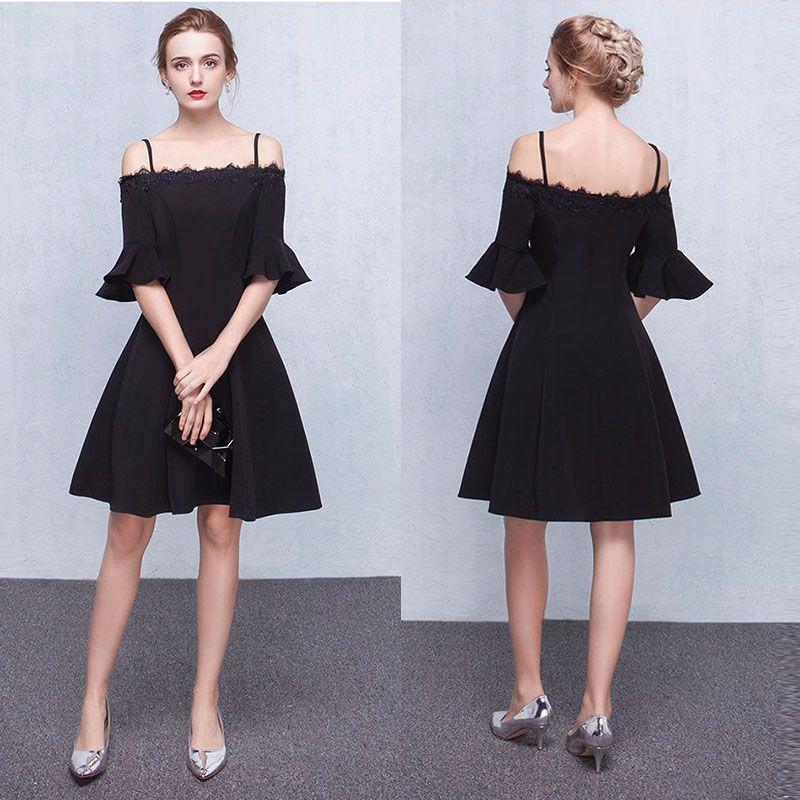 1156c2537e0a 2019 A Line Black Cocktail Dresses Lace Off Shoulder Half Sleeves Knee  Length Straps Zipper Short Prom Dresses Silver Cocktail Dresses Spring  Cocktail ...