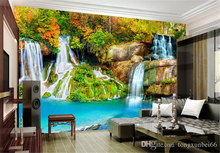 Nature Landscape Custom 3D Wall Mural Wallpaper Small Creek Waterfall Living Room TV Backdrop Photo Wallpaper For Bedroom Walls