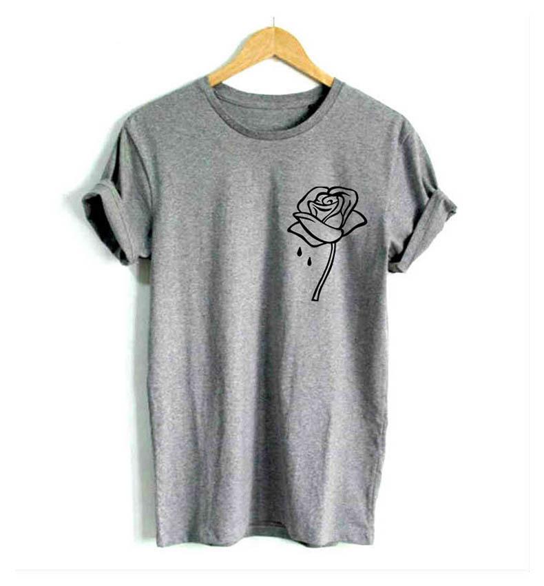 8252c31c1 Compre T Shirt Rosa Flor Bolso Imprimir Camisa Das Mulheres Ocasional  Engraçado Camisa Para Senhora Hipster Tumblr Drop Ship BTS De Your02