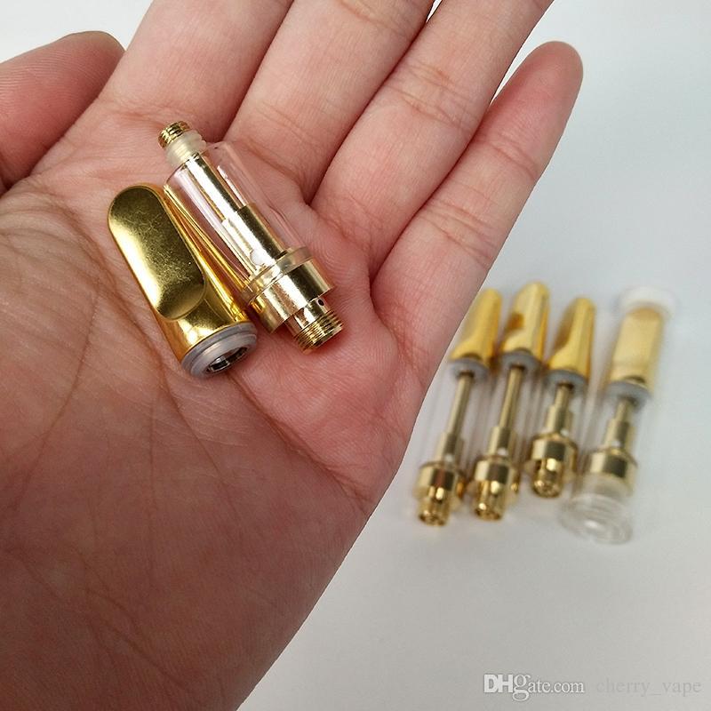 2018 Instock Golden Cartridge TH205 Стеклянный распылитель 2,0 мм Картридж с масляным отверстием Керамическая катушка Керамическая вытяжка для масла Картриджи Vape