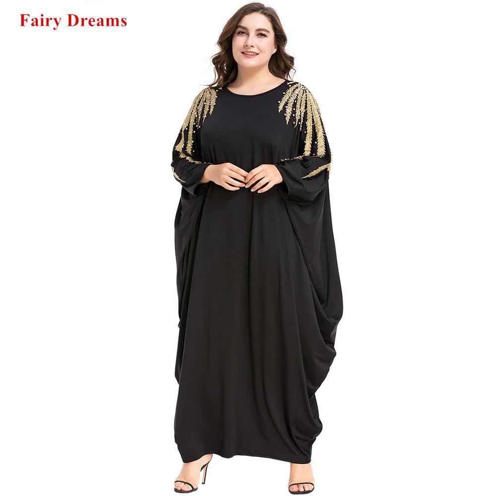 Acheter Noir Abayas Perles Femmes Islamique Vêtements Musulman À Manches  Longues Maxi Dress Printemps Automne Kaftan Dubaï Malaisie Turquie Caftan  Robe De ... 9168b228a90