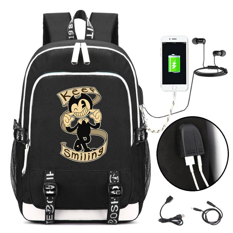 6377a5db2c0 Bendy And The Ink Machine Backpack With USB Charging Port And Lock   Headphone Interface For College Student Work Men   Women Best Messenger Bags  Cloth Bags ...