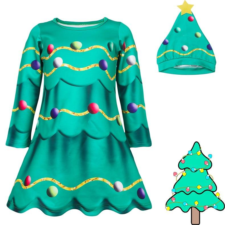 Merry Christmas Girl Cosplay Costume Christmas Tree Dress With Cap Xmas Santa Party Show Costume
