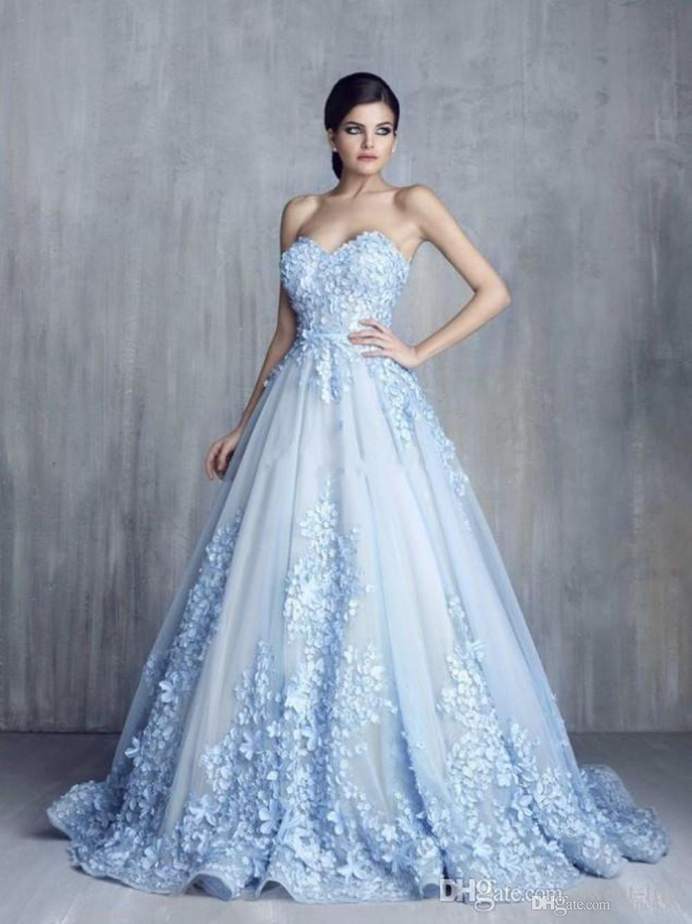 Charming 3D Floral Light Blue Appliques Lange Abendkleider 2019 Neue Sexy Handmade Flower Sweetheart Ballkleid Lace Prom Pageant Kleider