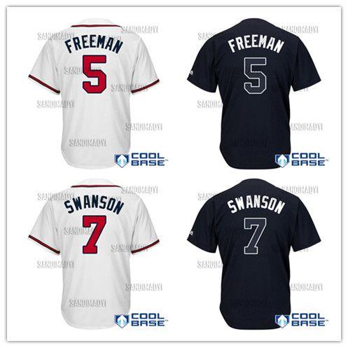 Men s Atlanta Baseball Jerseys 5 Freddie Freeman 7 Dansby Swanson ... b571367cfd0f