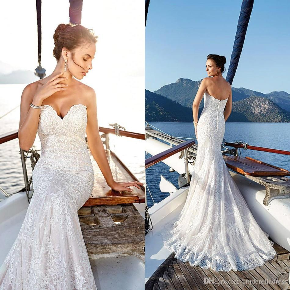 2019 Designer Lace Mermaid Wedding Dresses Sweetheart Tulle Long Sweep  Train Beach Country Wedding Bridal Gowns BC0174 Designer Wedding Dresses  Sale ... 59609dd3f03e