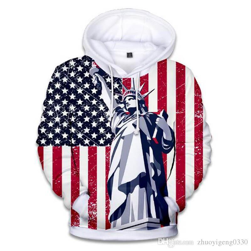 b593be44b Hot Moda Novos Homens Mulheres Estátua Da Liberdade Americana 3d Hoodie  Engraçado Dos Homens Patriotismo Bandeira DOS EUA Impresso Moletom Com Capuz  ...