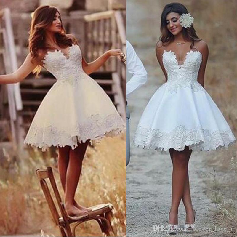 Discount 2018 Short Wedding Dress Knee Length Lace