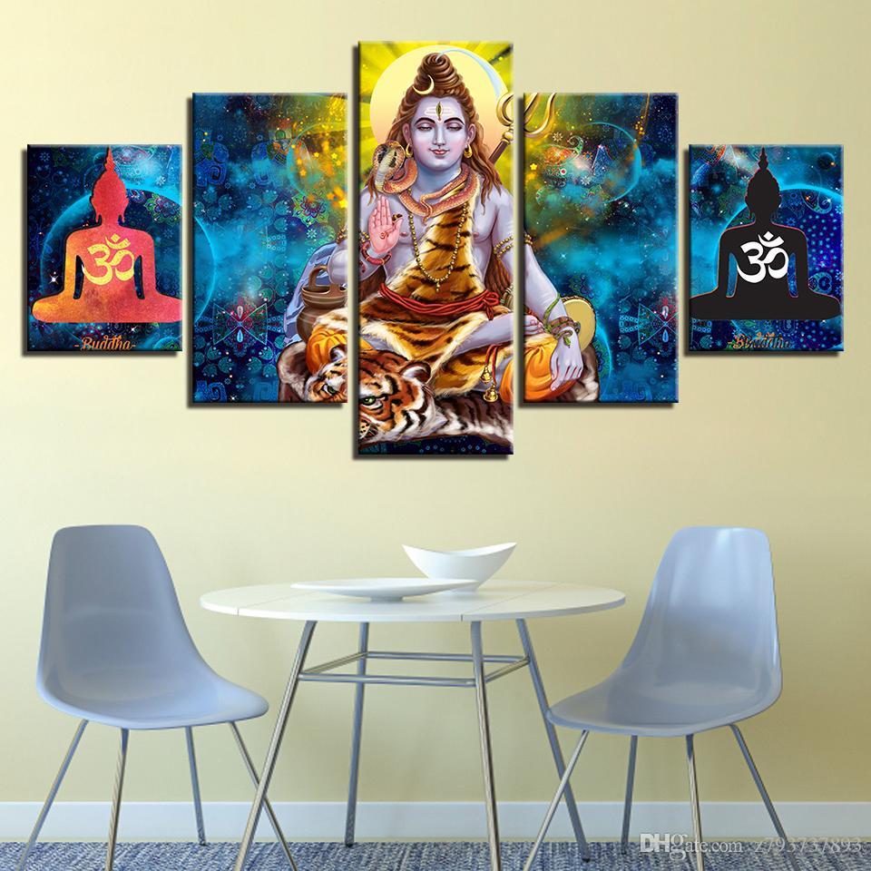 grosshandel abstrakte bilder wandkunst hd gedruckt 5 stucke hindu lord shiva malerei modulare om poster wohnkultur wohnzimmer gerahmte leinwand von