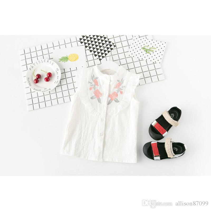 Summer Girls clothes Outfit set Sweet White Embroidery Shirts Sleeveless+Shorts Wholesale 3T-7T Korea
