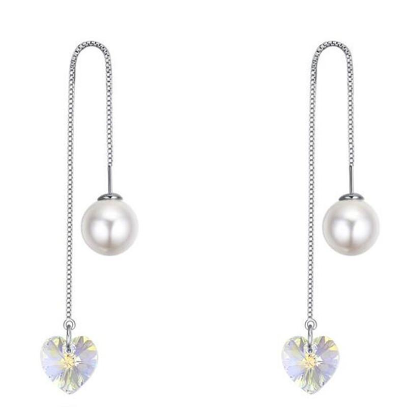 a660dbc69549 Pendientes largos para el corazón de la boda Cristal de Swarovski Elements  Pendientes perforados para las mujeres Moda Vintage Joyería de la perla ...