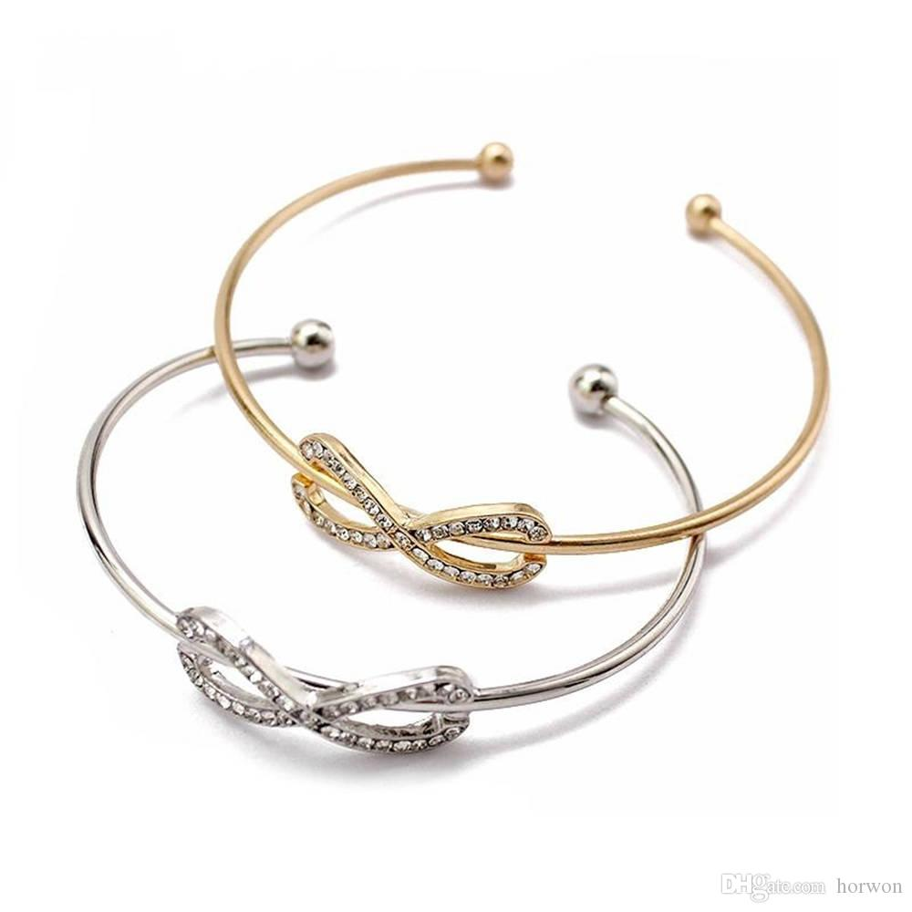 d967bf30b6721 Gold Silver Crystal Rhinestone Charm Infinite Bracelets & Bangles For Women  Number 8 Love Cuff Bangle Fashion Open Arm Jewelry Acces KKA1984