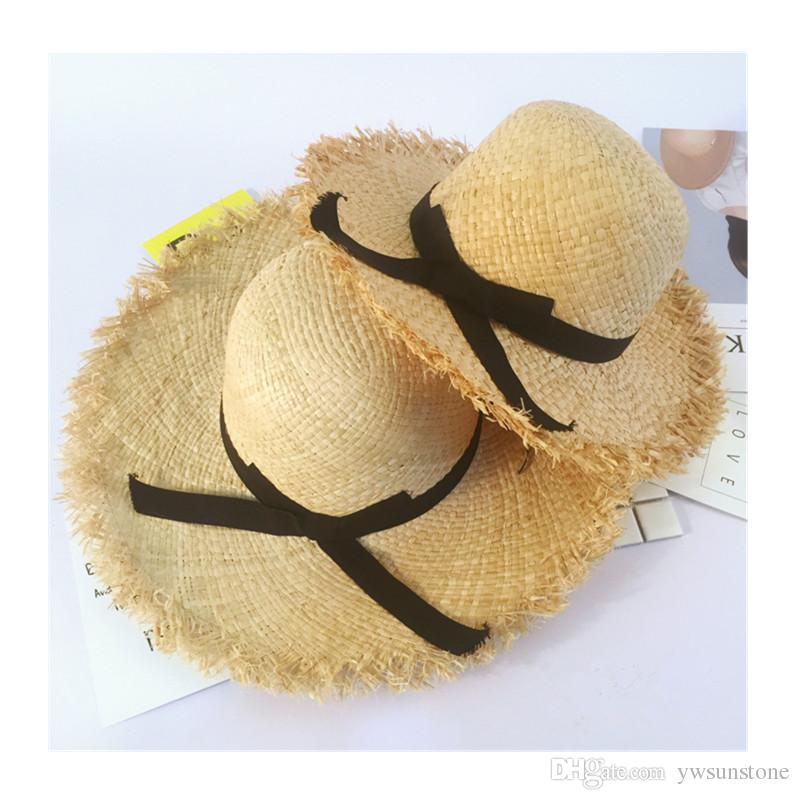 Summer Parent Child Floppy Raffia Straw Sun Hat With Ribbon Crunch Wide  Brim Women Hats Chic Beach Solid Kids Caps UV Protection Trucker Hats  Boonie Hat ... bd2a93ea283b