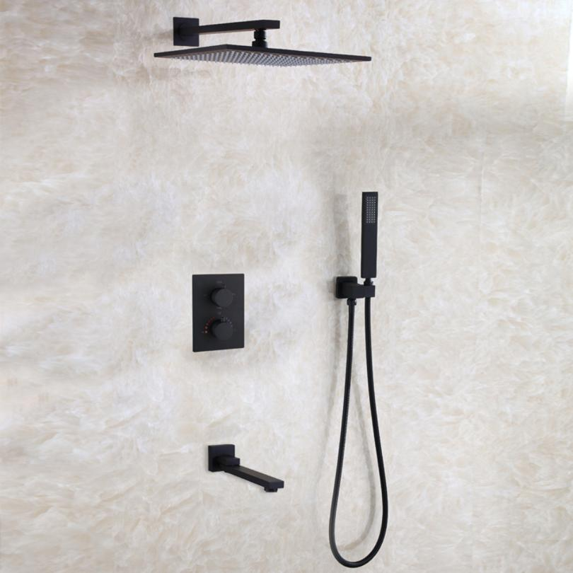 Dulabrahe Waterfall Bathroom Shower Mixer Faucet Set Wall Mounted Rain Bath Shower Head Tap Black Shower Faucets Silver Bathroom Fixtures