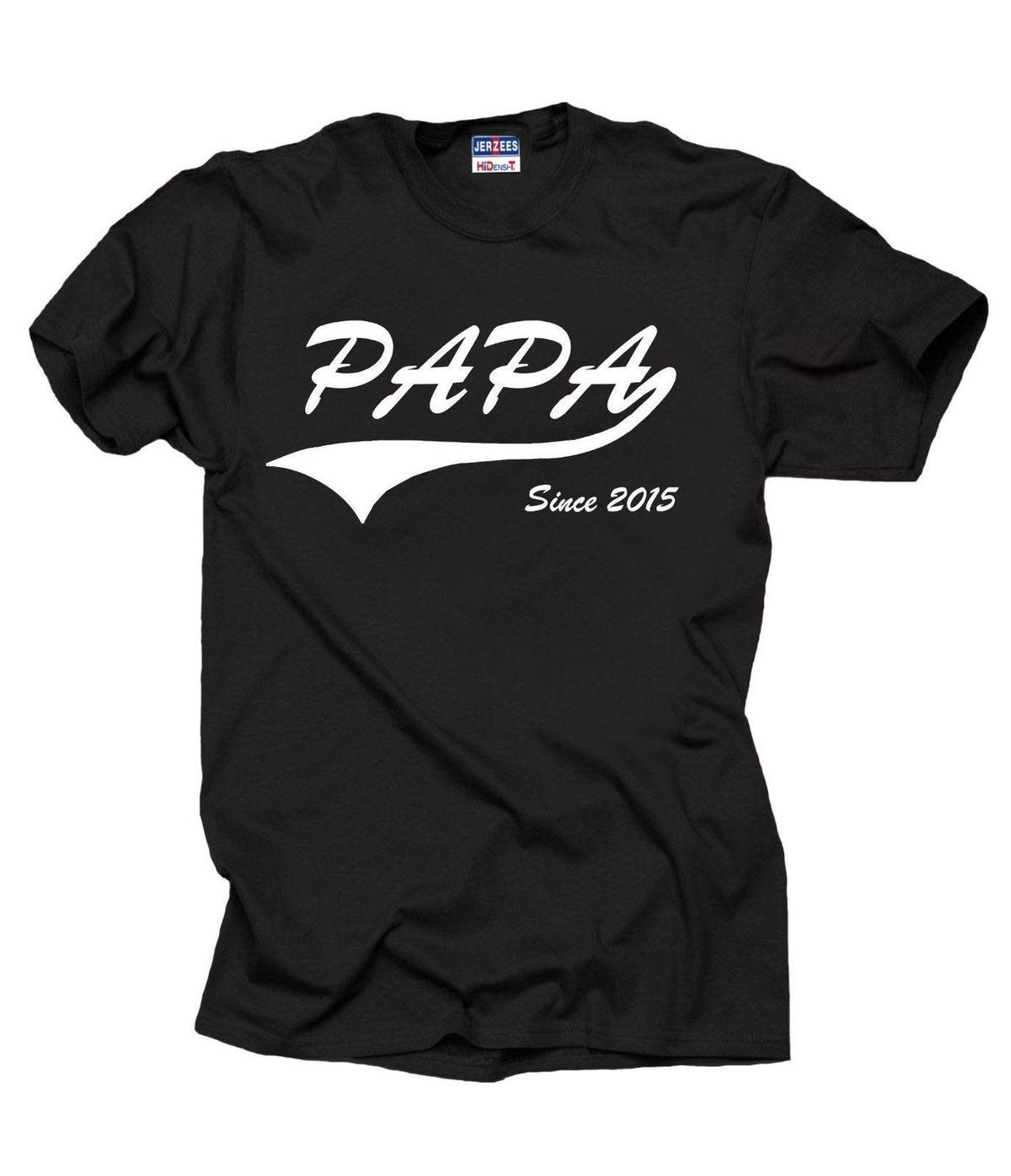 Papa Since 2015 Tshirt Gift For Father Daddy Dad Papa Birthday Gift