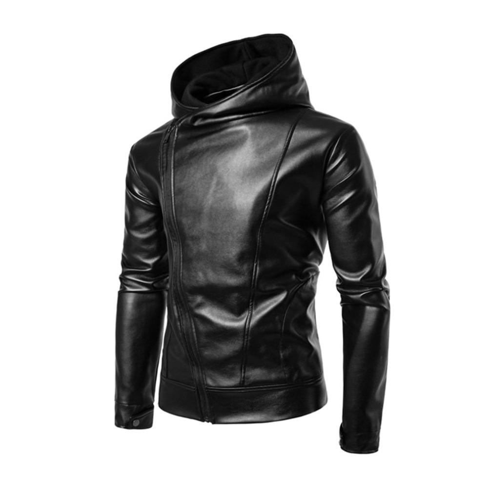 New Punk Style Black Leather Jacket Hoodie Zipper Type Men Casual