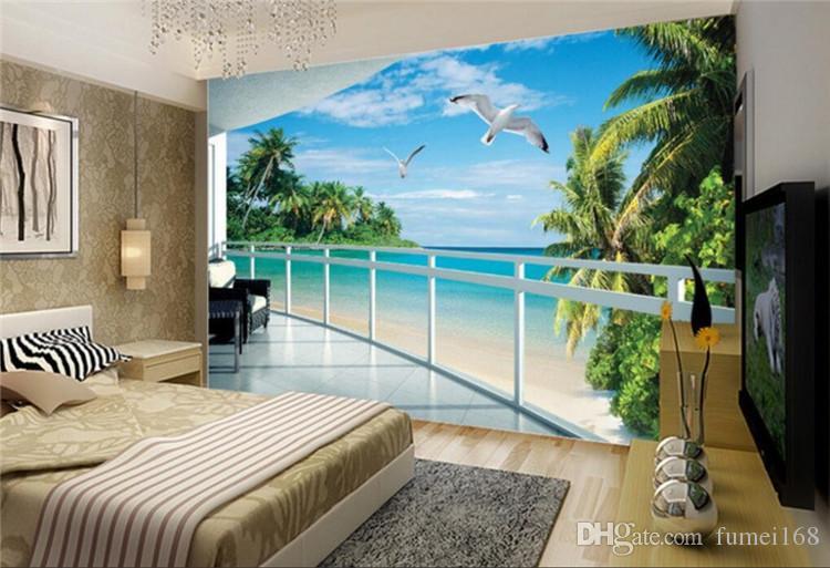 Personnalisé 3D papier peint balcon extérieur bateau mouette paysage décoration de la maison papier peint pour murs 3 d photo murale