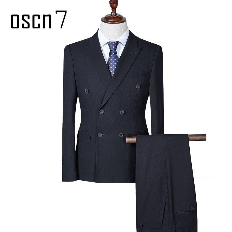 Compre OSCN7 Traje De Doble Botonadura Hombres 3 Piezas Trajes De Vestido De  Boda Para Hombres Busniess Evento Tuxedo Plus Size Casual Ternos 4XL A   143.94 ... bbc4c73120c